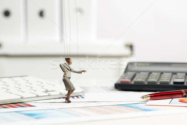 деловая женщина марионеточного кукла столе прошлое канцтовары Сток-фото © adam121