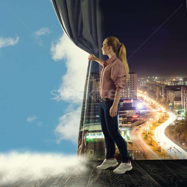 Stockfoto: Jonge · vrouw · gordijn · naar · wolken · afbeelding · boek