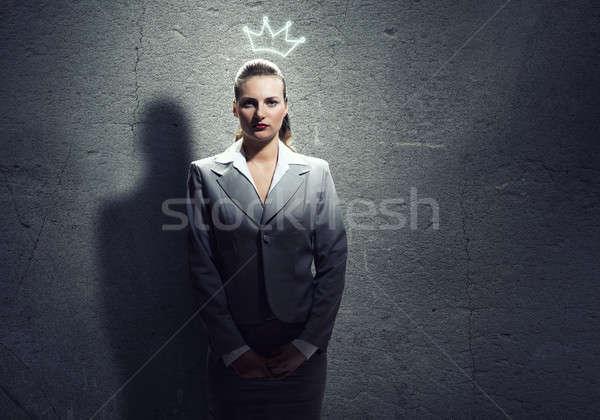 Kobieta korony młodych ambitny kobieta interesu głowie Zdjęcia stock © adam121