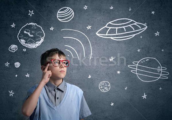 Stock fotó: Gyermekkor · álmok · jövő · aranyos · fiú · iskola