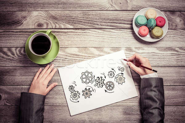 女性実業家 チームワーク 表示 手 図面 紙 ストックフォト © adam121