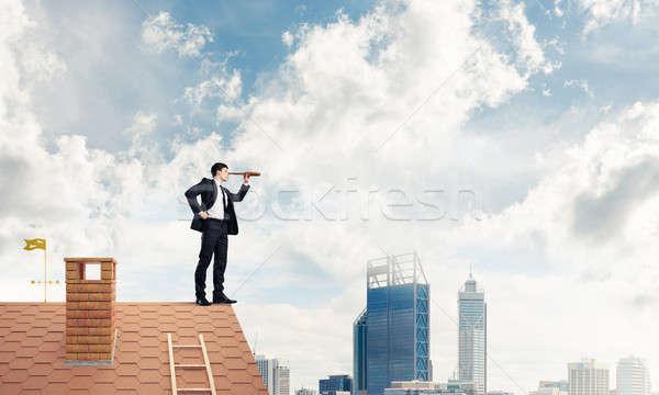 Bay patron tuğla çatı arama bir şey Stok fotoğraf © adam121