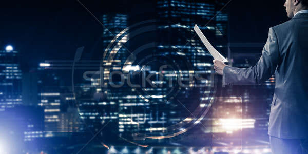 Digital background with infographs and man extending papers or c Stock photo © adam121