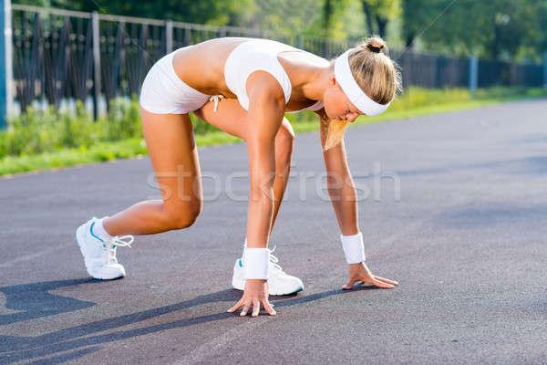 Atleta inizio runner outdoor piedi Foto d'archivio © adam121