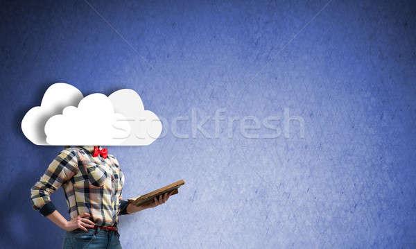 Meisje hoofd wolk onherkenbaar vrouw boek Stockfoto © adam121