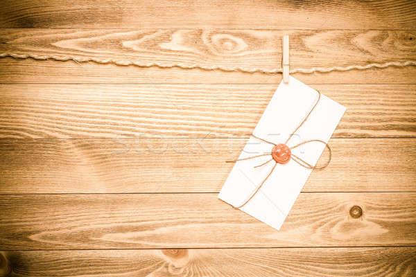 Mail envelop touw opknoping houten textuur Stockfoto © adam121