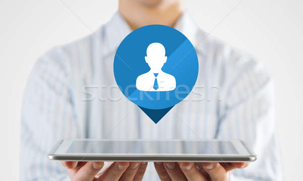 Stockfoto: Man · presenteren · interface · toepassing · zakenman