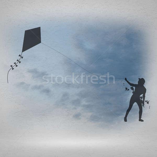 Girl and flying kite Stock photo © adam121