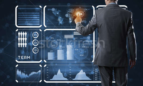 инновационный технологий бизнеса вид сзади бизнесмен рабочих Сток-фото © adam121