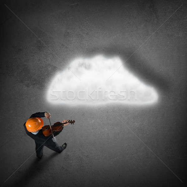 Férfi játszik siker dallam felső kilátás Stock fotó © adam121