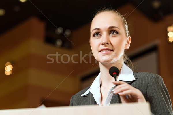 portrait woman presenter Stock photo © adam121