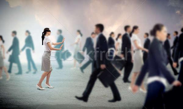 Fiatal bekötött szemű nő út ki tömeg Stock fotó © adam121