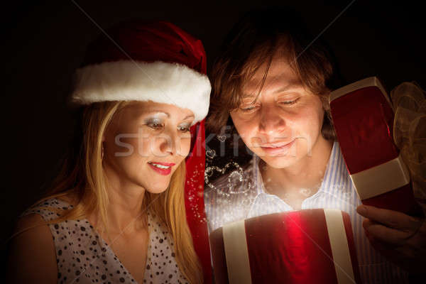 couple opens a box of magic Stock photo © adam121