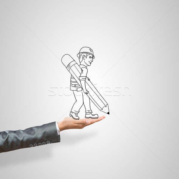 Biznesmen dłoni kobiet szary korporacyjnych Zdjęcia stock © adam121