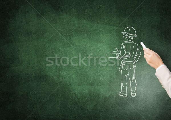 инженер человека мужчины стороны мелом строительство Сток-фото © adam121