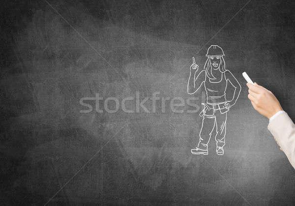 Karykatura budowniczy kobieta kobiet strony rysunek Zdjęcia stock © adam121