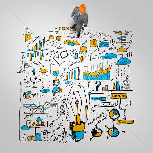 Ingeniero hombre estrategia de negocios superior vista empresario Foto stock © adam121