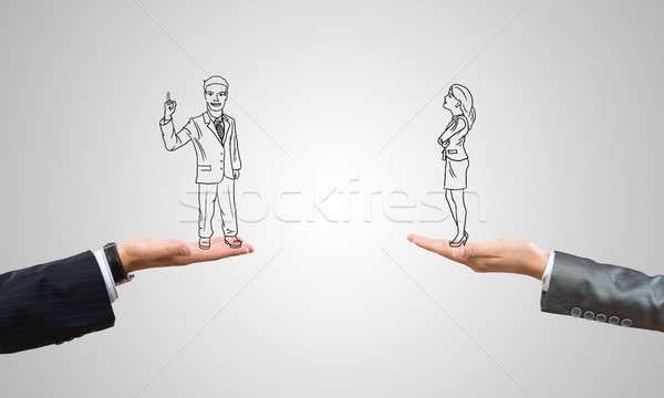 üzletember üzletasszony rajzolt üzletemberek emberi pálmafák Stock fotó © adam121
