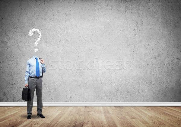 Altijd denken geld zakenman vraag teken Stockfoto © adam121