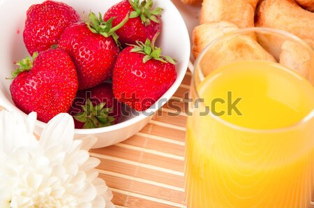 Stock foto: Frühstück · Saft · Croissant · früh · Blume · Reise