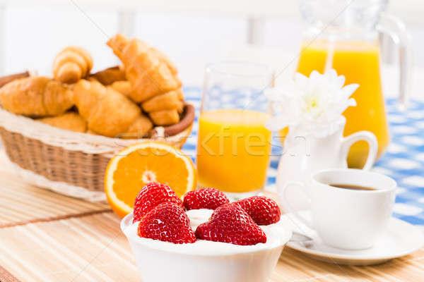 early breakfast, juice, croissants and Berries Stock photo © adam121