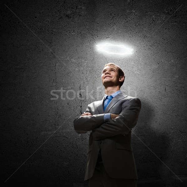 Zakenman jonge knap halo boven Stockfoto © adam121