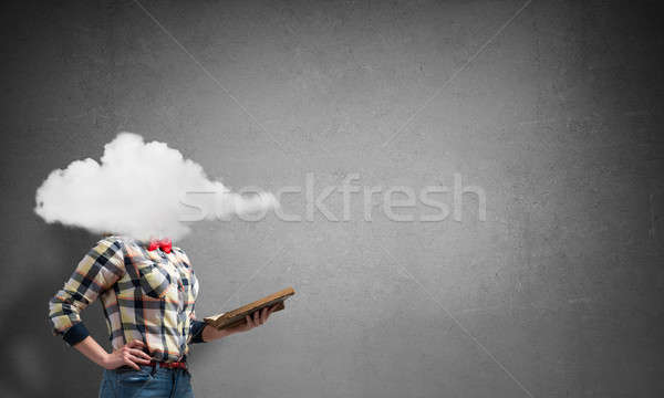 Girl with head in cloud Stock photo © adam121
