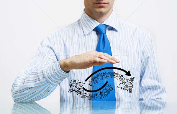 Business imprenditore suit seduta desk Foto d'archivio © adam121