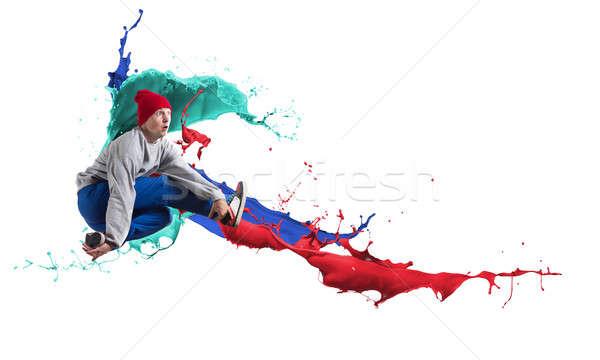 хип-хоп танцовщицы современных прыжки красочный краской Сток-фото © adam121