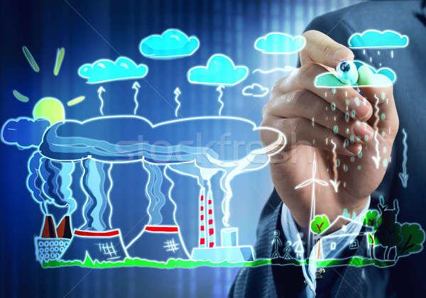 Fabrico ecologia interação fechar ver empresário Foto stock © adam121