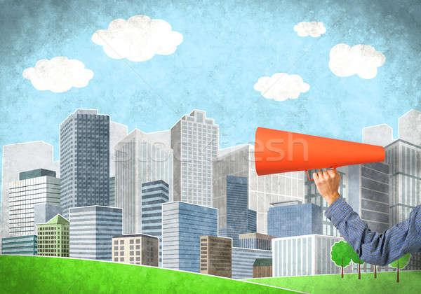 Hand man oranje papier trompet Stockfoto © adam121