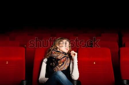 ストックフォト: 小さな · 魅力のある女性 · 座って · 映画 · 映画