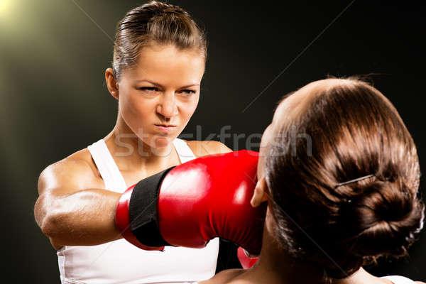 Vrouw boksen agressief tegenstander hoofd gezondheid Stockfoto © adam121