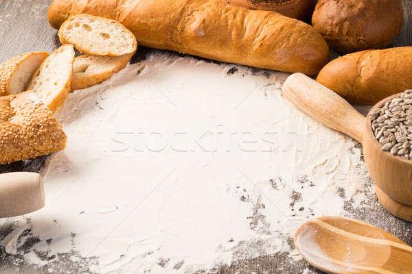 Liszt fehér kenyér különböző fából készült felület fa Stock fotó © adam121