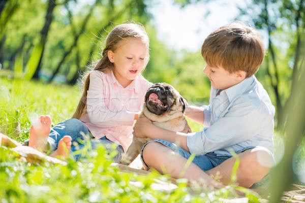 Bambini parco pet adorabile ragazzo ragazza Foto d'archivio © adam121