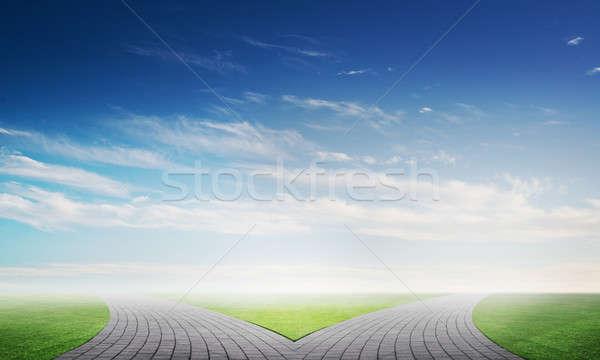 Téglák útkereszteződés kép természetes tájkép vidék Stock fotó © adam121