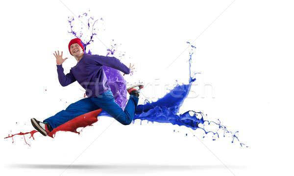 Danser jonge man hip hop springen hoog man Stockfoto © adam121