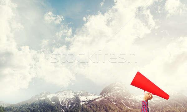Mão mulher papel trombeta naturalismo Foto stock © adam121