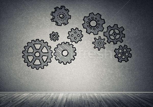 Attrezzi meccanismo lavoro di squadra grigio muro Foto d'archivio © adam121