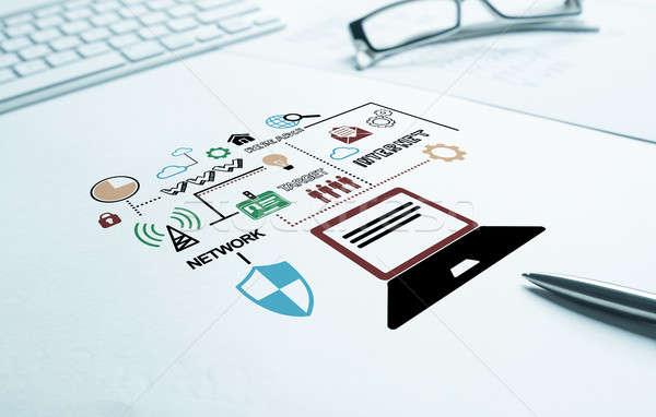 Erzeugnis Umsatz wachsen Business Arbeitsplatz Tastatur Stock foto © adam121