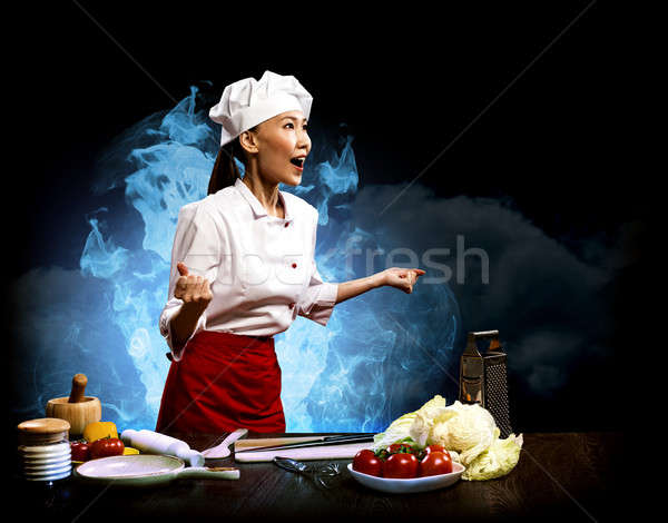 Stockfoto: Woedend · chef · abstract · hand · werk