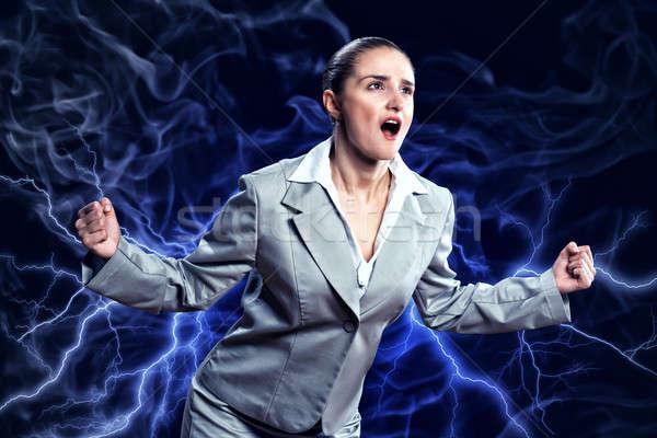 Gwałtowny kobieta wściekły broni osoby Zdjęcia stock © adam121