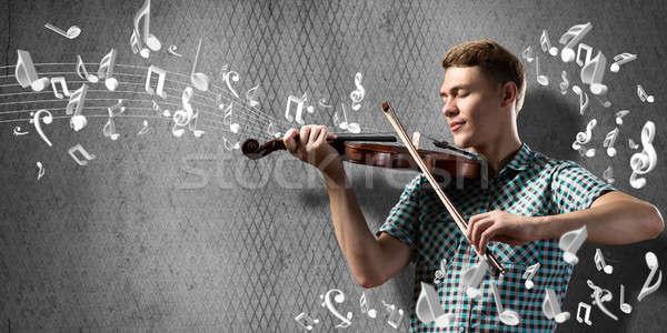 человека скрипач молодым человеком случайный цемент играет Сток-фото © adam121