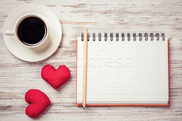 Vallomás valentin nap kávéscsésze jegyzettömb ceruza kettő Stock fotó © adam121