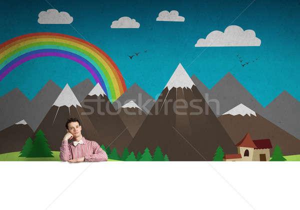 Sıkılmış adam afiş genç adam gömlek Stok fotoğraf © adam121