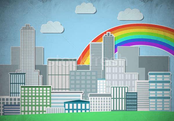 Colorido cityscape ilustração edifícios arranha-céus Foto stock © adam121