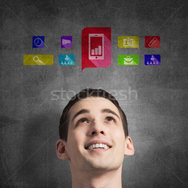 Aplikacja ikona mediów interfejs młody człowiek czerwony Zdjęcia stock © adam121
