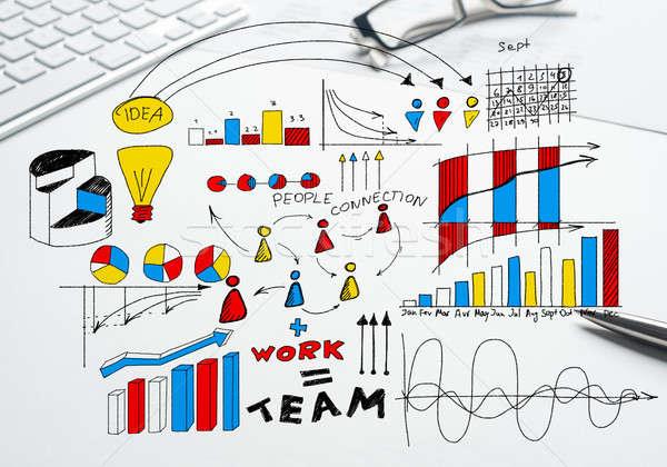 Plan rentable affaires couleur stratégie d'entreprise croquis Photo stock © adam121