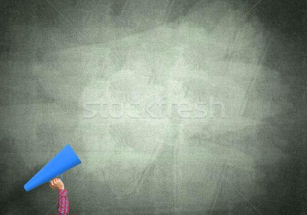 Hand vrouw papier trompet beton Stockfoto © adam121