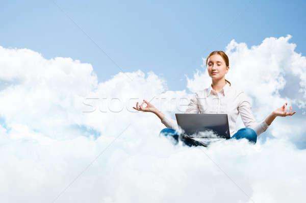Meditáció felhők fiatal lány meditál laptop álmodik Stock fotó © adam121